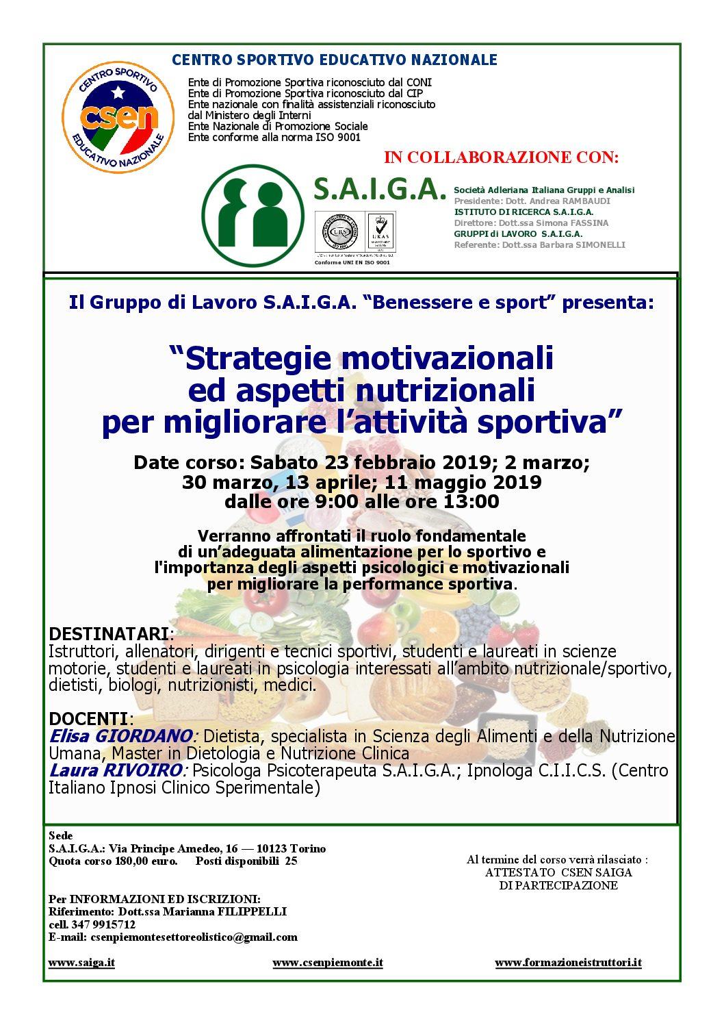VOLANTINO SAIGA-CSEN corso nutrizione